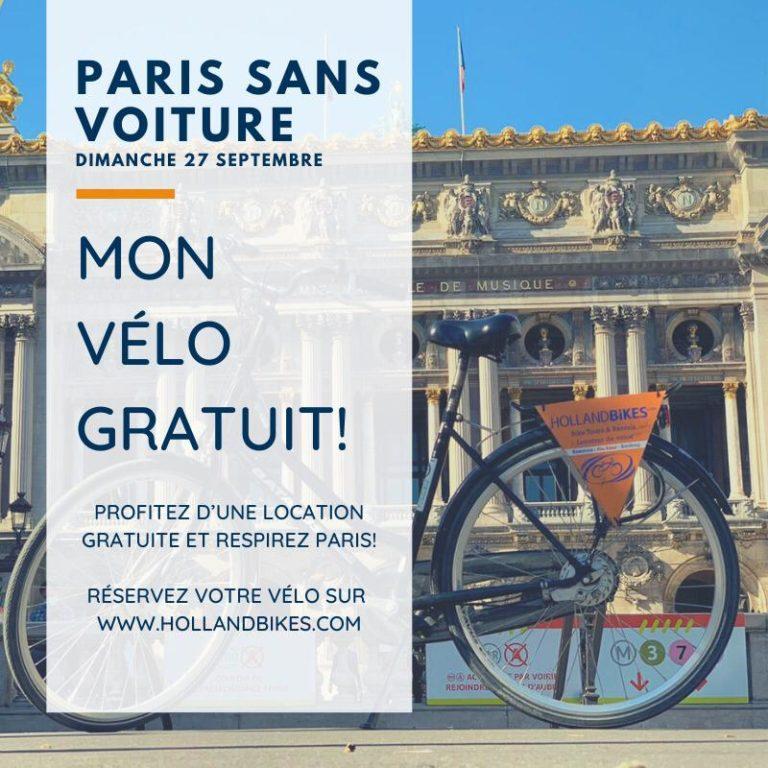 Votre vélo gratuit pour la journée sans voiture à Paris !