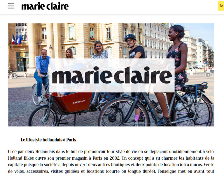 Marie-Claire : Holland Bikes démocratise le vélo familial dans le quotidien des français
